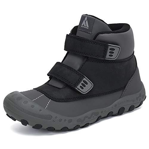 Mishansha Hiking Bootsfor Big Little Kids Lightweight Boys Girls Walking Shoes Kid Military Booties PU Black Toddler 7.5