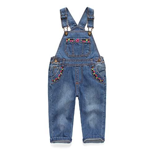 Kidscool Baby & Toddler Girls Flower Decor Big Bib Jeans Overalls,Lightblue,2-3 Years