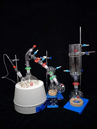 Labwang Laboratory Glassware Borosil Glass Short Path Distillation Kit with Cold Trap,2000ml(I've Changed to Heat Resistant Stirring bar Now.)