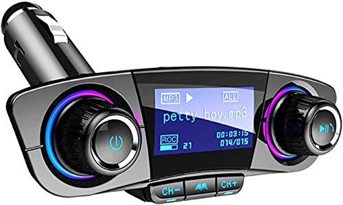 LVYE1 MRMF Bluetooth 5.0 FM Transmitter In-Car MP3 Player Hands-free Car Kit Wireless Radio Audio Adapter with Dual 5V 2.1A USB Charger, TF Card, U Disk Play, AUX, Input Output
