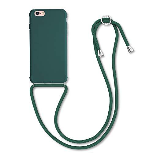 kwmobile Funda con Cuerda Compatible con Apple iPhone 6 / 6S - Carcasa de TPU Mate con Colgante en Verde Oscuro
