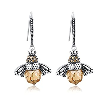 SLUYNZ 925 Sterling Silver Queen Bee Dangle Earrings for Women Teen Girls Cute Crystal Bee Earrings