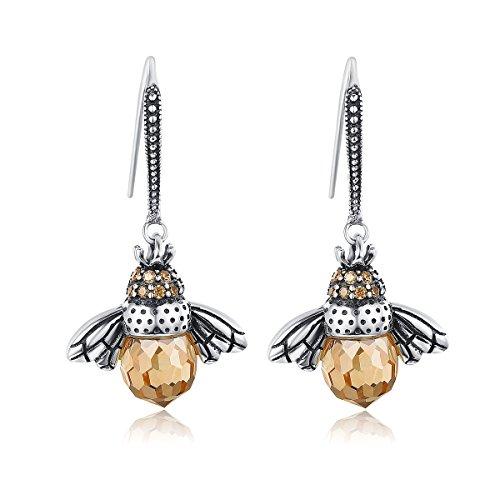 GOXO 925 Oxidized Sterling Silver Queen Honey Bee Little Bumblebee Pendant Necklace Bracelet Earrings Set (Bee Earring)