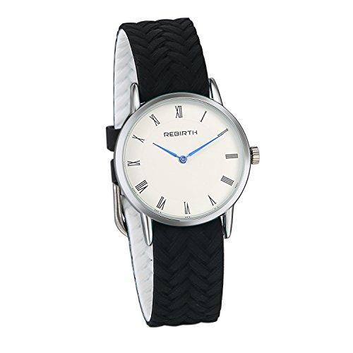 JewelryWe Damen Armbanduhr Ultra Dünn Analog Quarz schwarz geflochten Silikon Band Uhr mit Römischen Ziffern Zifferblatt
