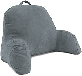 Deluxe Comfort Microsuede Bed Rest - Backrest Pillow with Arms - Bed Rest Pillow - Reading Bedrest Lounger - Sitting Support Pillow - Soft But Firmly-Stuffed Fiberfill - Reading Pillow, Dark Grey