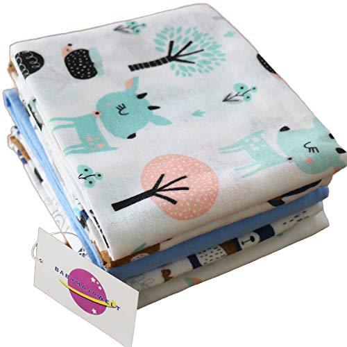 Babymajawelt® Moltontücher SOFT - Flanell Weiss/Bunt Mix 70x80 cm, Schnuffeltuch Schmusetuch Spucktücher, Wickelunterlage (Jungs, 5 Pack)