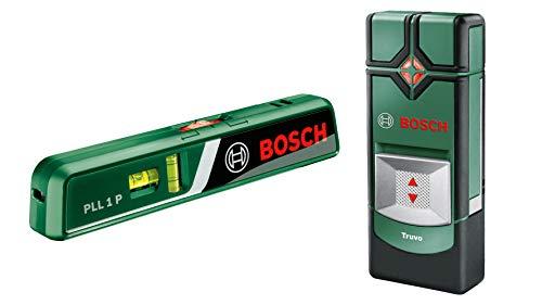 Bosch Ortungsgerät Truvo (max. Ortungstiefe Stahl/Kupfer/Stromleitung: 70/60/50 mm, im Karton) + Laser-Wasserwaage PLL 1 P (Arbeitsbereich Linienlaser 5 m, Arbeitsbereich Punktlaser 20 m)