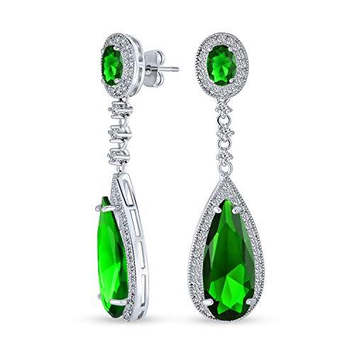 Grüne Teardrop Kubische Zirkonia Baumeln Kronleuchter Prom Pageant Statement Ohrringe Simuliert Smaragd Silber Vergoldet Messing