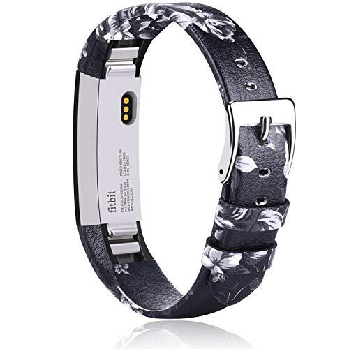 Vancle Compatible con pulsera Fitbit Alta HR y Fitbit Alta, correa de piel suave de repuesto para Fitbit Alta/Fitbit Alta HR (flor gris)