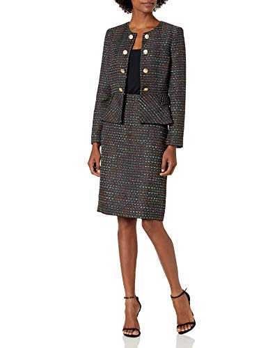 Tahari ASL Women's Faux Double Breasted Peplum Jacket and Skirt Set, Black Coral Multi, 10