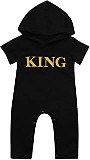 Hot Sale!! 0-24 Months Newborn Infant Baby Boy Casual Hooded Letter King Romper Jumpsuit Bodysuit Playsuit Outfits