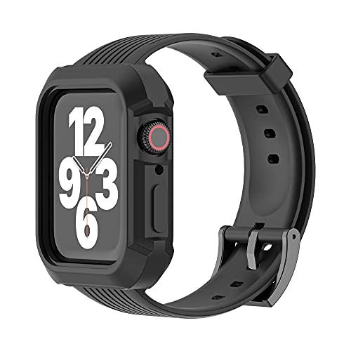 CHENPENG Banda Resistente Compatible con Apple Watch 1/2/3/4/5/6, Bandas de Correa para el Cuerpo integradas con Estuche Protector, para Hombres y Mujeres,Negro,38mm