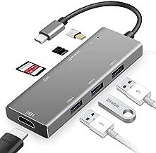Multiport USB-C HUB USB 3.1 Gen 2 Thunderbolt 3 to HDMI 4K Video Converter, 3 Ports USB 3.0 HUB, PD Charging, TF/SD Card Reader MacBook Pro 2016/2017, Chromebook More Type-C Devices