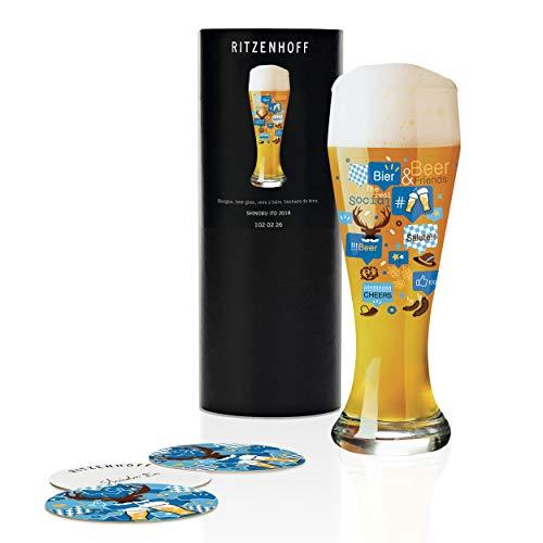 RITZENHOFF Weizen Copa de cerveza, 0.5 litros, cristal, Azul, amarillo, marrón, blanco, negro