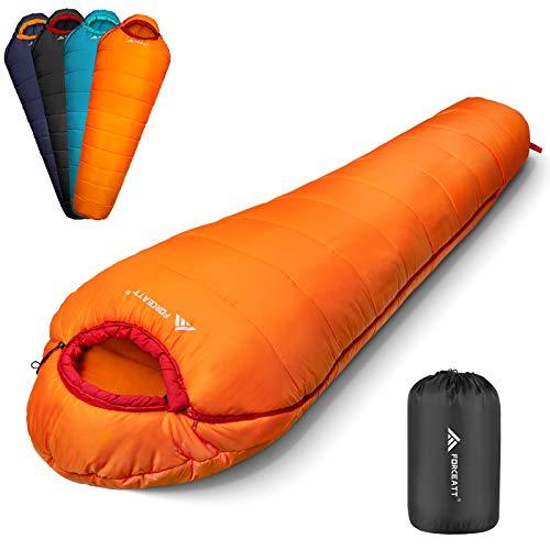 Forceatt Schlafsack Winter für Erwachsene und Jugendliche in 3 Jahreszeiten und Kaltem Wetter (-10 ℃ bis 15 ℃), Wasserdicht, Rip-Stop, Leicht und Warm, Ideal für Camping, Rucksackreisen und Wandern.