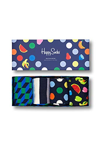 Happy Socks Navy Socks Gift Set 4-Pack farbenfrohe und verspielte Geschenkboxen für Männer und Frauen, Premium-Baumwollsocken, 4-Paare,Größe 41-46