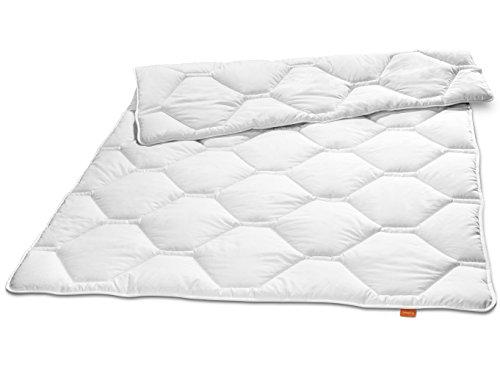 Preisvergleich Produktbild sleepling 190100 Komfort 340 Winter Bettdecke Made in Germany Baumwolle Satin Duo warm 155 x 220 cm,  weiß