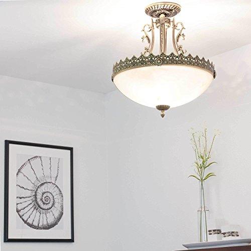 Edle Deckenleuchte in Messing Antik Jugend Stil inkl. 3x 12W E27 LED 230V Deckenlampe aus Metall &...