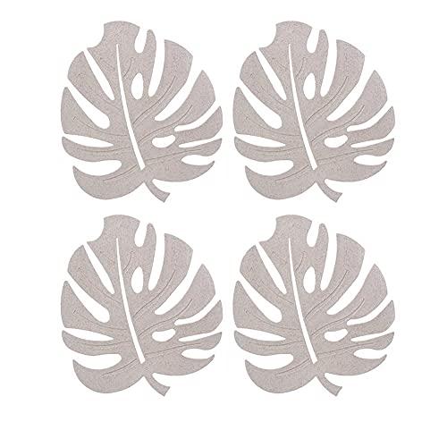 WSYW 4 manteles individuales con aislamiento de color beige, fáciles de limpiar, protege el escritorio patrón creativo de hojas para vajilla taza de agua, color beige
