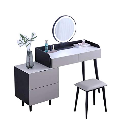 ZDAMN Tocador de maquillaje, taburete combinado con espejo de maquillaje táctil, LED, mesa de maquillaje moderna, sencillez, tocador para el hogar (color: gris, tamaño: 150 x 76 x 48 cm)