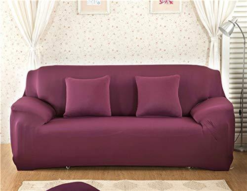 WEDZB Sofa hoes,Spandex Effen Kleur Elastische Sofa Cover Polyester Hoekbank Bank Hoes Stoelbeschermer Woonkamer 1/2/3/4 Zits, Bean Red, 4, Zitting 235.300cm
