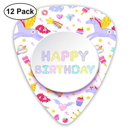 Gitaar Pick Gelukkige Verjaardagskaart Pegasus Eenhoorn Dessert 12 Stuk Gitaar Paddle Set Gemaakt Van Milieubescherming ABS Materiaal, Geschikt voor Gitaren, Quads, Etc