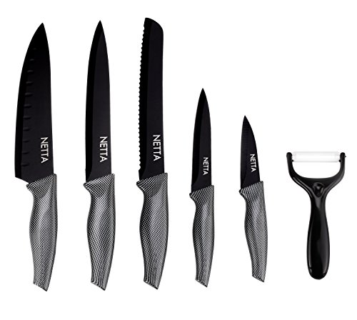 NETTA Premium 6 Piece Professional Stainless Steel Knife Set - Carbon Handle Style