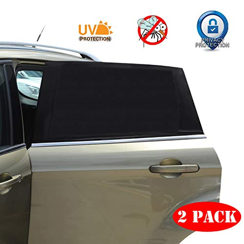 Car Window Sun Shade - 2 Pack Breathable Mesh Car Rear Side Window Shade Sunshade UV Protection for Baby Family Pet, Mosquito Net Curtains Fit for Most(95%) of Cars, Cover Full Window