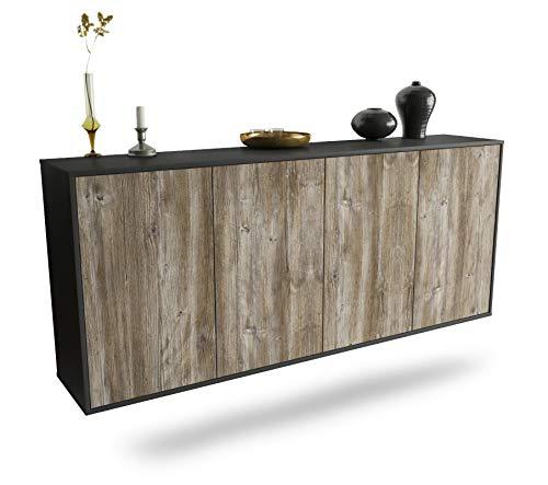 Dekati Sideboard Lakewood hängend (180x77x35cm) Korpus anthrazit matt | Front Holz-Design Treibholz | Push-to-Open