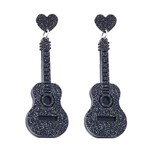 Amosfun Pendientes de guitarra, instrumentos musicales eléctricos, pendientes, colgantes, joyas regalo para mujeres, niñas, amantes de la música