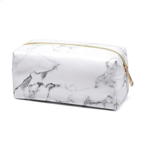 Sacchetto cosmetico in marmo Borsa per trucco quadrata Borsa cosmetica da viaggio in pelle PU portatile per bambini ragazze ragazzi adolescenti adulti