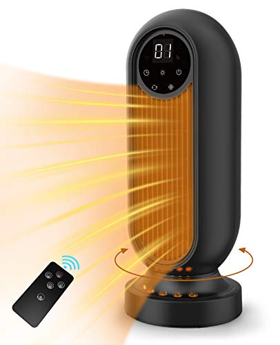 infray Portable Fan Heater, PTC 2000W Tower Heater, Fast Quiet Heating Ceramic Space Heater Oscillating Electric Heater with Remote Control, 12H Timer and LED Display for Home Office
