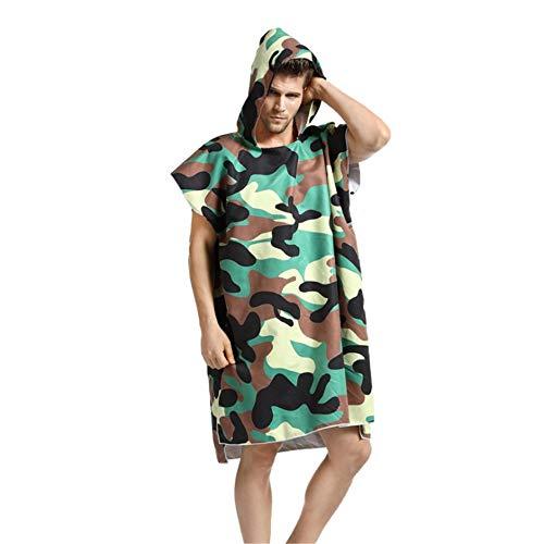Mannen Cape Badhanddoek Camouflage Groen Compact Zomer Strand Surfen Poncho Mannen Verwisselbare Badpak Badhanddoek Badjas Hooded Korte mouw Zanddichte Surfen Zwemmen Camping Mannen Hooded Wol Handdoek