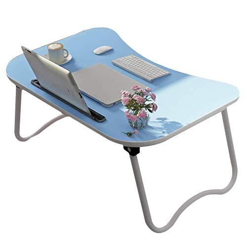 ZHJING Litet sängbord laptop skrivbord frukost serveringsbricka lat hållare vikbar bärbar multifunktionell 6 färger 60 x 40 x 28 cm (färg: blå)