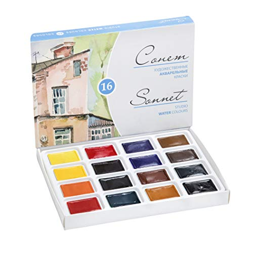 Artists Watercolors 'Sonnet' Paint Set (16 Pans in Carton Box) Russia