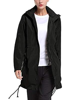 BALEAF Womens' Windbreak Lightweight Jacket Hooded Long Trench Coats Black M from Baleaf