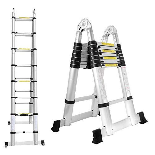 BMOT 5(2,5+2,5) M Escalera telescópica de Aluminio Fuerte Estabilidad Escalera plegable Escalera alta multifuncional para loft 8+8 Escalones Antideslizantes Carga 150 KG