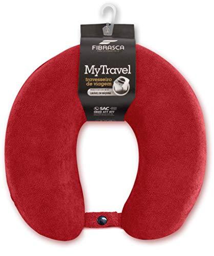 Travesseiro de Viagem My Travel Espuma Revestimento em Fibrasca Vermelho