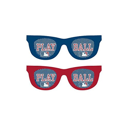 Amscan 251097 Baseball Dream Rawlings Printed Glasses Party Supplies, Red/Blue