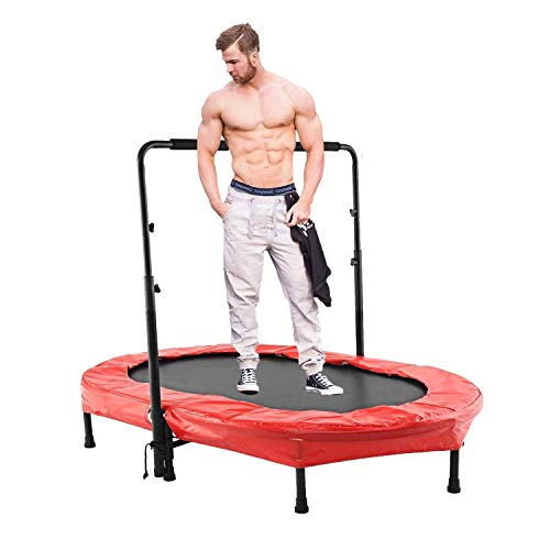 Scallop Mini Rebounder Trampoline with Adjustable Handle for Two Kids, Parent-Child Twins Trampoline | Max. Load 220LBS (Red)