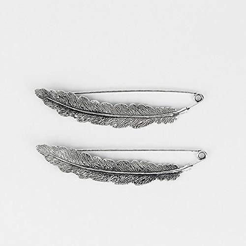 Gran Color de plata antigua Girasol/Hojas/Pluma Durable Metal fuerte Kilt Bufanda Broche Seguridad Pin-1 Broche de plumas