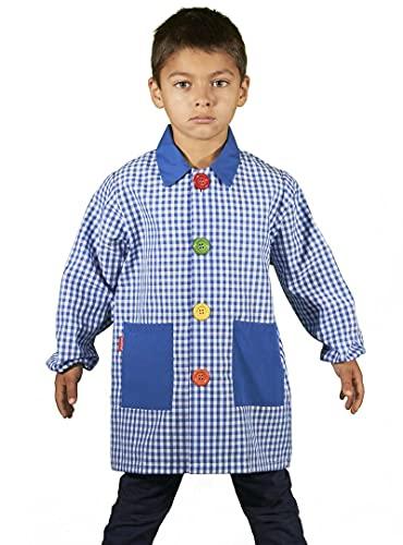 KLOTTZ 904B - Babi colegio niño Bata escolar niño con cuello pico y corte recto. niños color: AZUL talla: 2