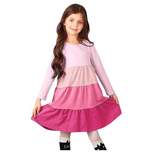 FEIXIANG Kleinkind Mädchen Langarm Kleid gestreift Regenbogen A-Linie Kleid Kinder Rundhals T-Shirt Kleid Rüschen Prinzessin Kleid
