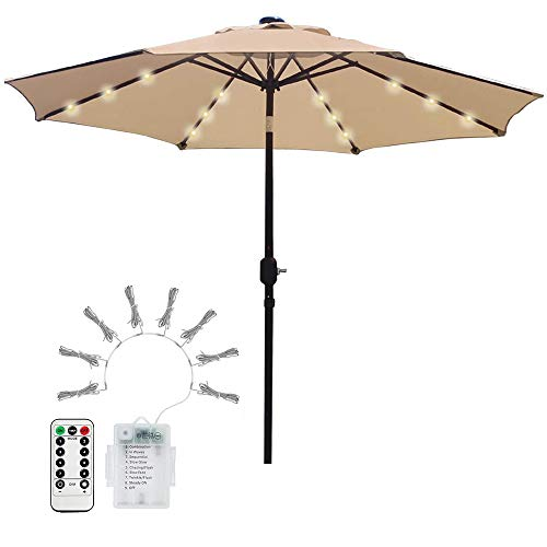 Lichterkette für Sonnenschirm Sonnenschirmbeleuchtung 104 LED Regenschirm Lichterkette Batterie 8-Mode Beleuchtung mit Fernbedienung und Timer für Campingzelte,Terrasse,Garten Warmweißes Licht