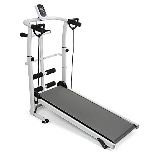 Manuale Tapis Roulant, con Display a LED Running, Sit-Up e Whirling Fitness Famiglia 145 * 54 * 110 cm (Grigio)