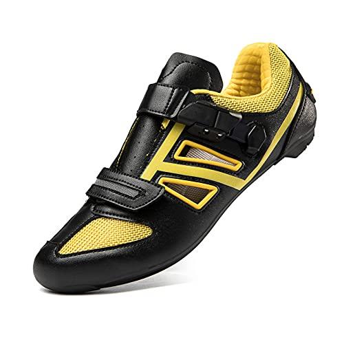 Zapatillas Ciclismo Para Hombre Y Mujer, Zapatillas Bicicleta Carretera Y MTB, Zapatillas De Ciclismo De Verano Compatibles Con Look SPD SPD-SL Delta Cleats Spinning Peloton (Black,46 (EU 46 1/3))