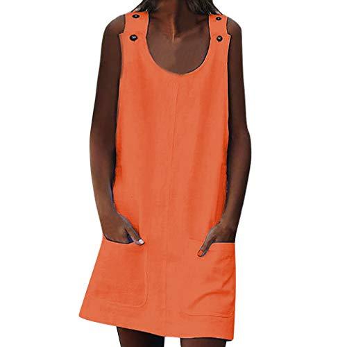 Momoxi Damen Sommerkleid Rundhalsausschnitt Frauen Kleider Shift Daily Casual Button Plain Baumwollkleider brautkleid Petticoat Tanzkleider Festkleider apart brautjungfernkleider Orange XL