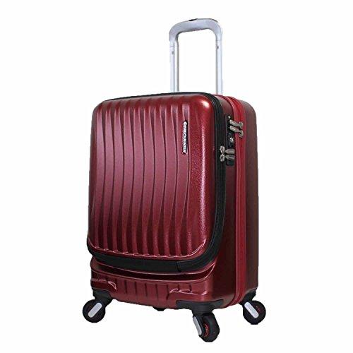 [エンドー鞄]ストッパー付き フロントオープン スーツケース コインロッカーサイズ SSサイズ ポリカーボネート フリークエンター 豊岡鞄 静音キャスター 1−217 (ワイン)