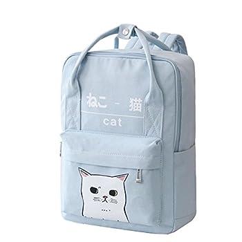 Women Girls Japanese And Korean Style Bags Kawaii Cat Canvas School Backpack  Blue
