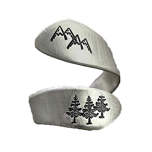 FPOJAFVN Vintage Punk Ringe, Offene Ringe Verstellbare Minimalistische Band Mode Ring Für Frauen Mädchen Männer,Silber